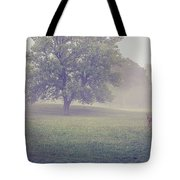 Deer By Barn On A Foggy Morning Tote Bag