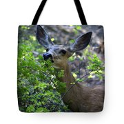 Deer Having Lunch Tote Bag