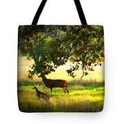 Deer In Autumn Meadow - Digital Painting Tote Bag