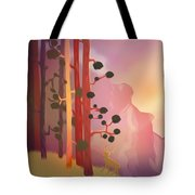 Deer In The Forest - Abstract And Colorful Mountains Tote Bag