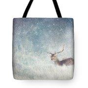 Deer In Winter Scene Tote Bag