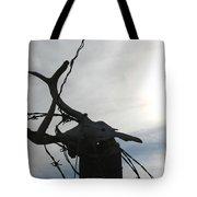 Deer Skull In Wire Tote Bag