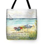 Deerfield Beach Umbrellas Psalm 63 Tote Bag