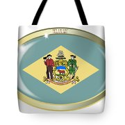 Delaware State Flag Oval Button Tote Bag