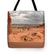 Delicate Arch Panoramic Tote Bag by Adam Romanowicz