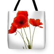 Delicate Red Poppies Vector Tote Bag