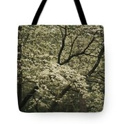 Delicate White Dogwood Blossoms Cover Tote Bag