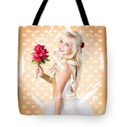 Delicate Young Woman Holding Flower Bunch Tote Bag