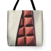 Delicious Chocolate Bar In Wrapping On Plate Tote Bag