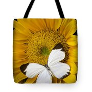 Delightful White Butterfly Tote Bag