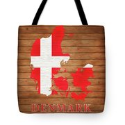 Denmark Rustic Map On Wood Tote Bag