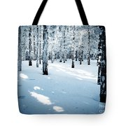 Dense Spruce Snowy Forest Tote Bag