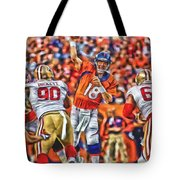 Denver Broncos Peyton Manning Oil Art Tote Bag