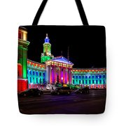 Denver City County Building Holiday Lighting. Tote Bag