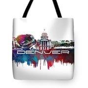 Denver Skyline City Blue Tote Bag