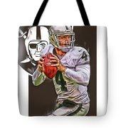 Derek Carr Oakland Raiders Oil Art Tote Bag