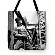 Derrick Man   Empire State Building Tote Bag by LW Hine