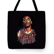 Derrick Rose-2 Tote Bag by Maria Arango