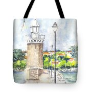Desenzenzo Lighthouse And Marina In Italy Tote Bag