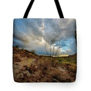 Desert Landscape With Clouds Tote Bag