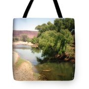 Desert Pond And Dry Mountains Tote Bag