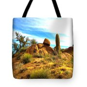 Desert Scene Near Sedona Arizona Painting Tote Bag