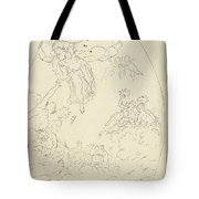 Design For A Ceiling Painting With A Triumph Of Minerva, In Oval, Dionys Van Nijmegen Possibly, 17 Tote Bag