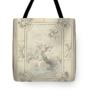 Design For A Ceiling Painting With Allegory Of Peace, Dionys Van Nijmegen, 1715 - 1798 Tote Bag