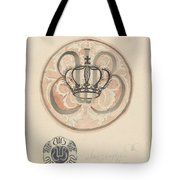 Design For A Plate With Crown And Monogram, Carel Adolph Lion Cachet, 1874 - 1945 Tote Bag