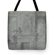 Design For A Room Wall With A Chimney Piece And Paintings, Cornelis Troost, 1720 - 1750 Tote Bag