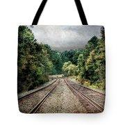 Destination Unknown, Travel Journey Train Tracks Tote Bag