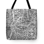 Detail From A Map Of Paris In The Reign Of Henri II Showing The Quartier Des Ecoles Tote Bag