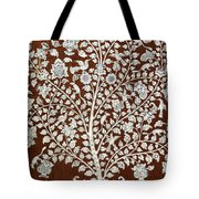 Detail Of A Vintage Botanical Pattern Tote Bag