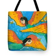 Detail Of Bird People Little Green Bee Eaters Of Upper Egypt 1 Tote Bag