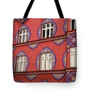 Detail Of Bright Facade Of The Cooperative Business Bank Buildin Tote Bag