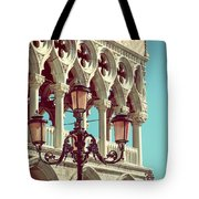 Detail Of Lamp And Columns In Venice. Vertically.  Tote Bag