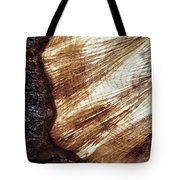 Detail Of Sawing Wood With Bark Tote Bag