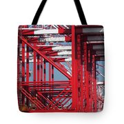 Detail View Of A Row Container Loading Cranes Tote Bag