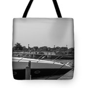 Detroit Lighthouse And Boat Black And White  Tote Bag