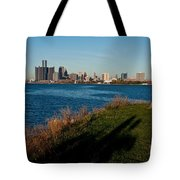 Detroit Skyline And Shadow Tote Bag