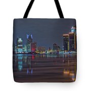 Detroit Skyline From Windsor In Hdr Tote Bag