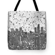 Detroit Skyline Map 5 Tote Bag