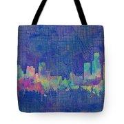 Detroit Skyline Watercolor Blue 3 Tote Bag