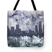 Detroit Skyline Watercolor Grunge Tote Bag