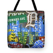 Detroit The Motor City Michigan License Plate Art Collage Tote Bag