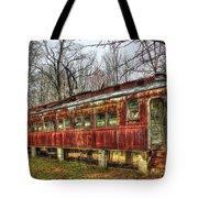 Devastation Railroad Passenger Train Car Fire Art Tote Bag
