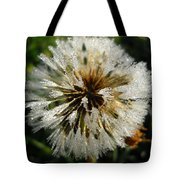 Dew Covered Dandelion Tote Bag
