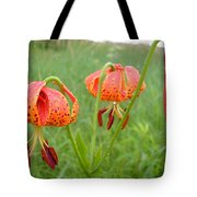 Dew Covered Tiger Lilies Tote Bag