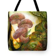 Dew Drop Mushrooms Tote Bag