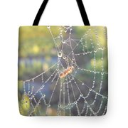 Dew Drops On A Spider Web Tote Bag